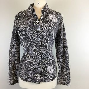 ColdWater creek Floral Black Shirt Size L (B-98)